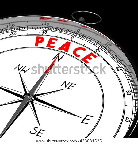3D illustration/ 3d rendering - compass, peace concept.