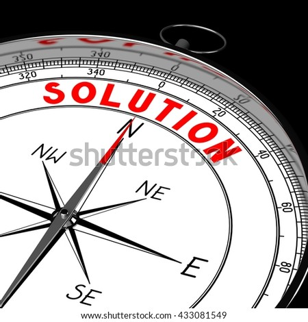 3D illustration/ 3d rendering - compass, solution concept.