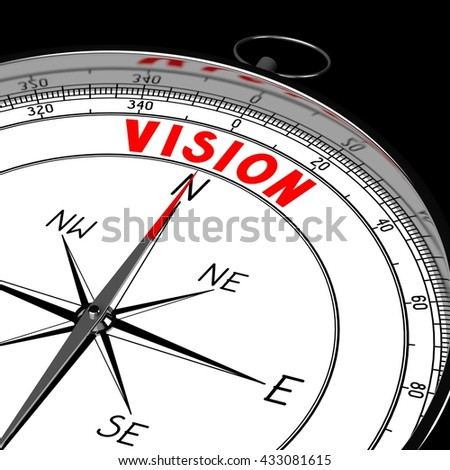 3D illustration/ 3d rendering - compass, vision concept.