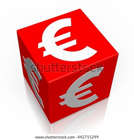 3D illustration/ 3D rendering - Dollar currency sign- 3D cube word - stock photo