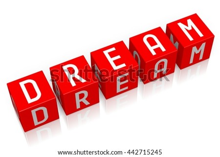 3D illustration/ 3D rendering - Dream - 3D cube word - stock photo