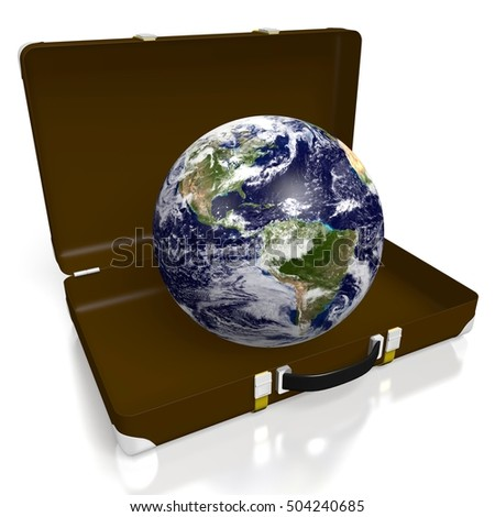 3D illustration/ 3D rendering - Earth, briefcase, suitcase. Elements of this image furnished by NASA.