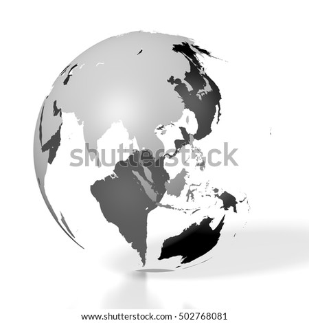 3D illustration/ 3D rendering - Earth, world map, Asia and Australia side.