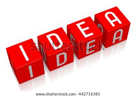 3D illustration/ 3D rendering - Idea - 3D cube word - stock photo