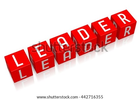 3D illustration/ 3D rendering - Leader - 3D cube word - stock photo