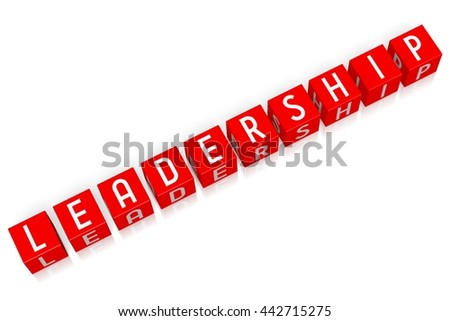 3D illustration/ 3D rendering - Leadership - 3D cube word - stock photo