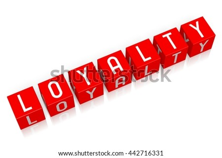3D illustration/ 3D rendering - Loyalty - 3D cube word - stock photo