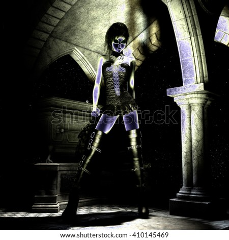 3D Illustration; 3D Rendering of a gothic Female  - stock photo