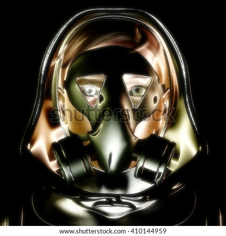 3D Illustration, 3D Rendering of a Protection Mask - stock photo