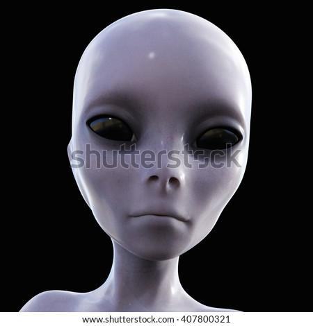 3D Illustration; 3D Rendering of an Alien - stock photo