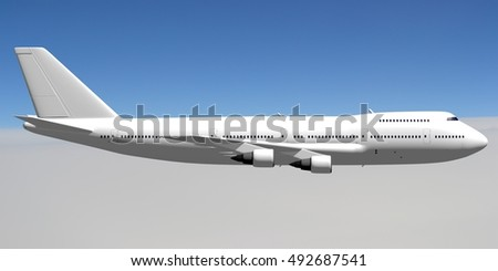 3D illustration/ 3D rendering - passenger jet plane flying in the air - great for topics like aviation, traveling etc.