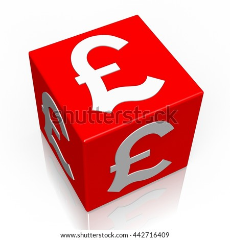 3D illustration/ 3D rendering - Pound currency sign - 3D cube word - stock photo