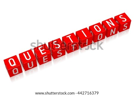 3D illustration/ 3D rendering - Questions - 3D cube word - stock photo
