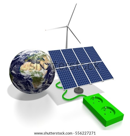 3D illustration/ 3D rendering - renewable energy concept - solar panels, electricity socket, wind turbine, Earth. Elements of this image furnished by NASA.