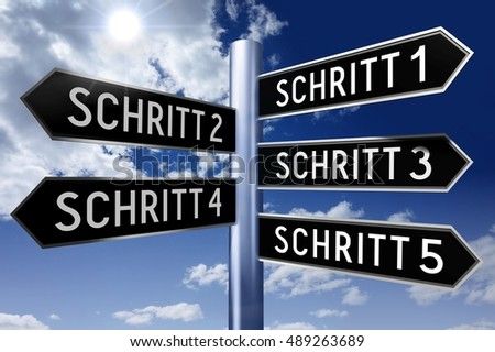 3D illustration/ 3D rendering - signpost with 5 arrows - steps concept (Schritt - German/ Step - English).