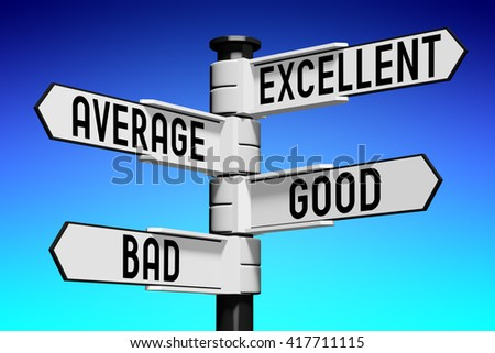 3D illustration/ 3D rendering - signpost with four arrows - comparison