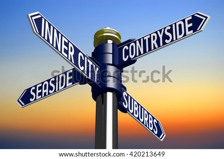 3D illustration/ 3D rendering - signpost with four arrows - housing issues - stock photo