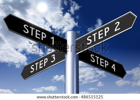 3D illustration/ 3D rendering - signpost with four arrows - steps concept.