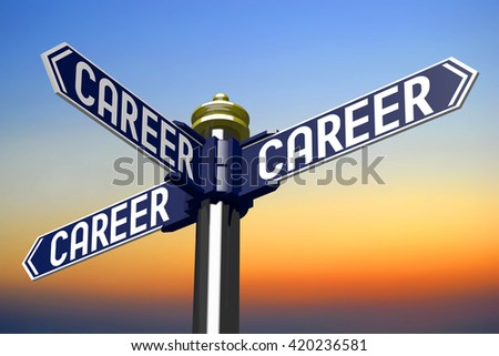 3D illustration/ 3D rendering - signpost with three arrows - career concept - stock photo