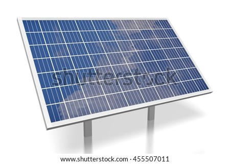 3D illustration/ 3D rendering - solar energy/ solar panel.