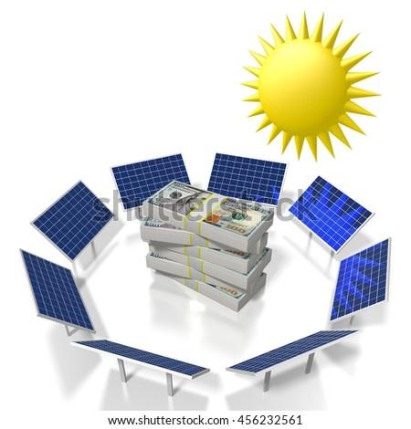 3D illustration/ 3D rendering - sun, solar energy concept. - stock photo