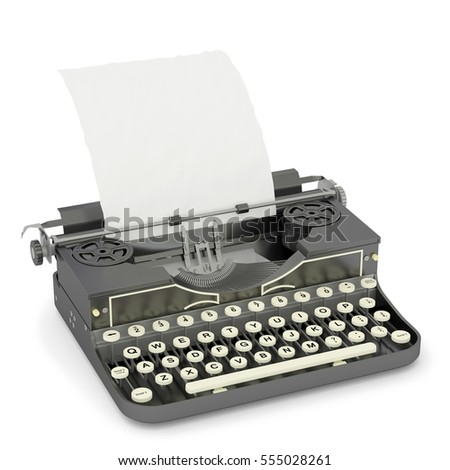 3D illustration (3D rendering) Vintage typewriter