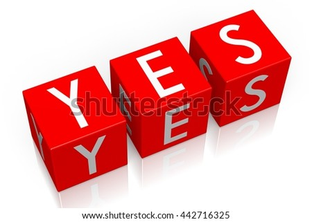 3D illustration/ 3D rendering - Yes - 3D cube word - stock photo
