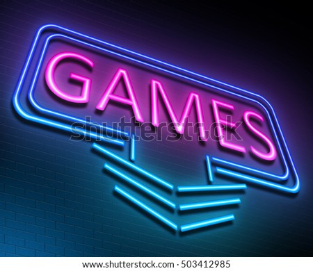 3d Illustration depicting an illuminated neon sign with a games concept.