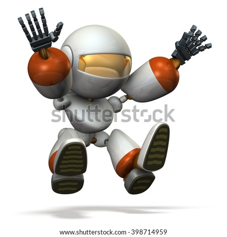 """3D illustration describe """"Child robot plays with the long jump. computer generated image """".  - stock photo"""