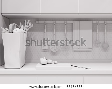 3d illustration design interior of modern kitchen without textures