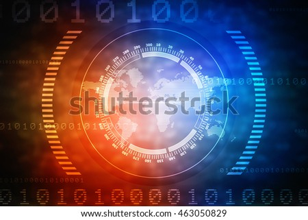 2d illustration Digital world map , Globalization, Hi tech and synchronization