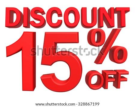 3d illustration - discount 15 percent sign  - stock photo