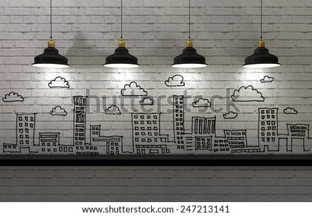 3d Illustration, drawing business concept on wall, city skyline - stock photo