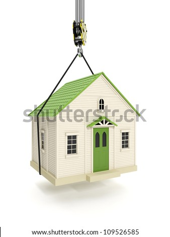 3d illustration: Drive home. The hook of a crane lifts the house. Change of residence - stock photo