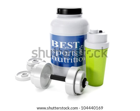 3d illustration: Dumbbells, shaker, sports nutrition, on a white background - stock photo