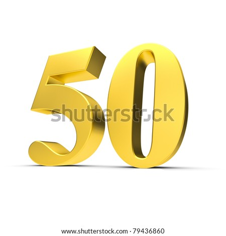 3D Illustration einer goldenen Fünfzig - stock photo