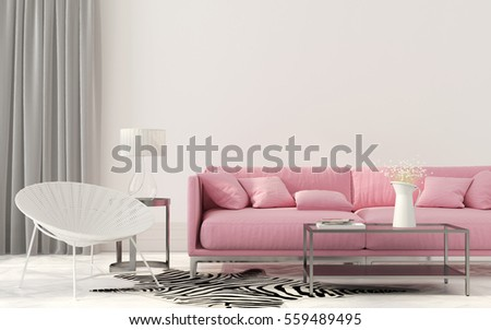 elegant living room with a pink sofa
