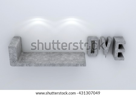 3D illustration , Empty love shelves on  background with downlight,empty shelves ready for product display montage - stock photo