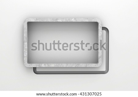 3D illustration , Empty square shelves on gray background with downlight,empty shelves ready for product display montage - stock photo