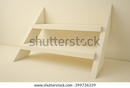 3D illustration,Empty yellow staircase shelves on background  - stock photo