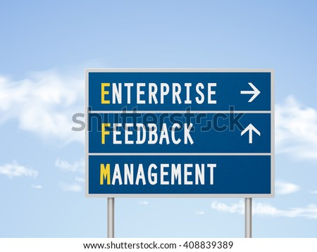 3d illustration enterprise feedback management road sign isolated on blue sky