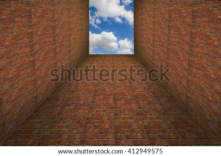 3D illustration Escape from obstacles need to think outside the box - stock photo
