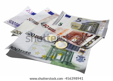 3D illustration. Euro banknotes isolated on white background
