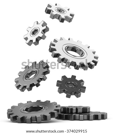 3d illustration. Falling gear on a white background.