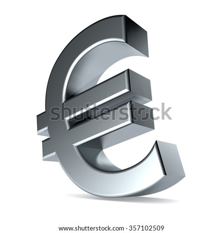 3d Illustration featuring mettalic Euro symbol on white