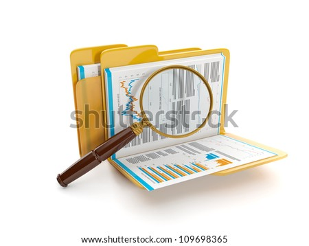 3d illustration: Finding a document file. Folder and a magnifying glass - stock photo