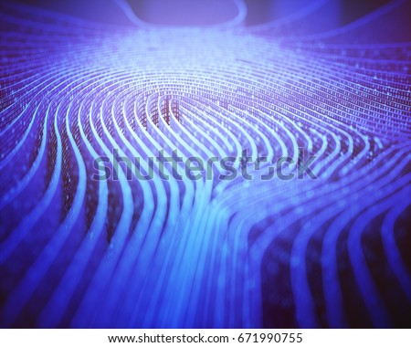 3D illustration. Fingerprint in labyrinth form, with binary codes in reference to individual identity.