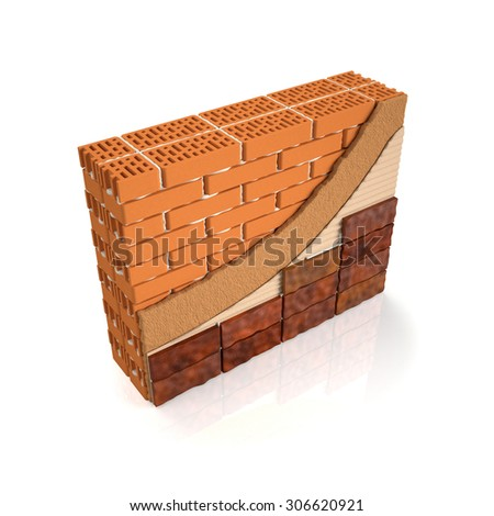 3d illustration. Finishing brick wall tiles, wall design manual