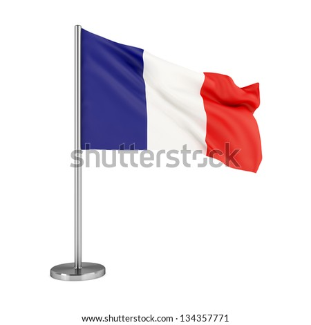 3d illustration. Flag of France isolated on white. - stock photo