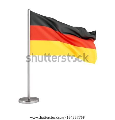 3d illustration. Flag of Germany isolated on white. - stock photo